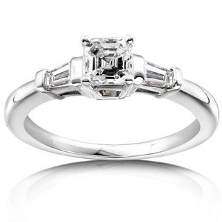 Annello 14k Gold 3/4ct TDW Asscher Diamond Engagement Ring (H-I, SI)