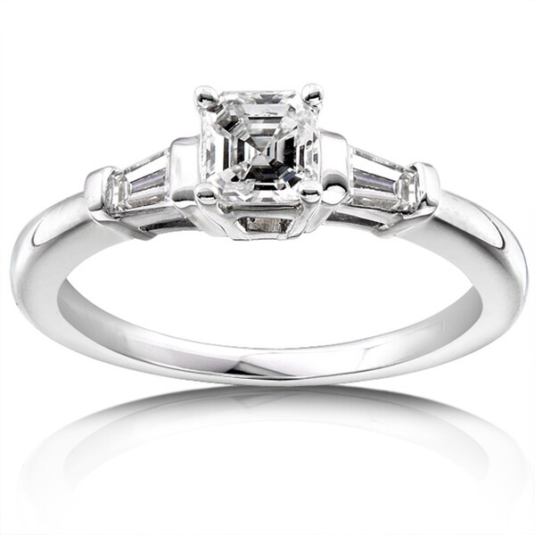 Annello 14k Gold 3/4ct TDW Asscher Diamond Engagement Ring (H-I, SI)