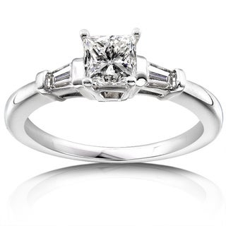 Annello 14k White Gold 1ct TDW Princess and Baguette Diamond Ring (H-I, I1-I2)