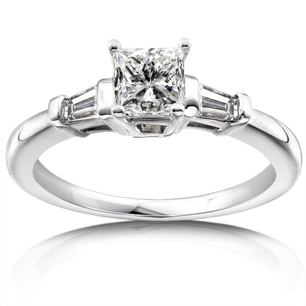 Annello 14k White Gold 1ct TDW Princess and Baguette Diamond Ring (H-I, I1-I2)