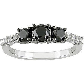 Miadora 10k Gold 1ct TDW Black and White Diamond Ring (G-H-I, I2-I3)