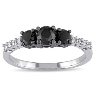Miadora 10k Gold 1ct TDW Black and White Diamond Ring (G-H-I, I2-I3)