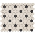 SomerTile 12.75x11-in New York 1-in Hex White/Black Dot Unglazed Porcelain Mosaic Tile (Pack of 10)