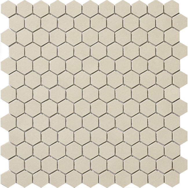 SomerTile 11.75x12-in New York 1-in Hex Antique White Unglazed Porcelain Mosaic Tile (Pack of 10)