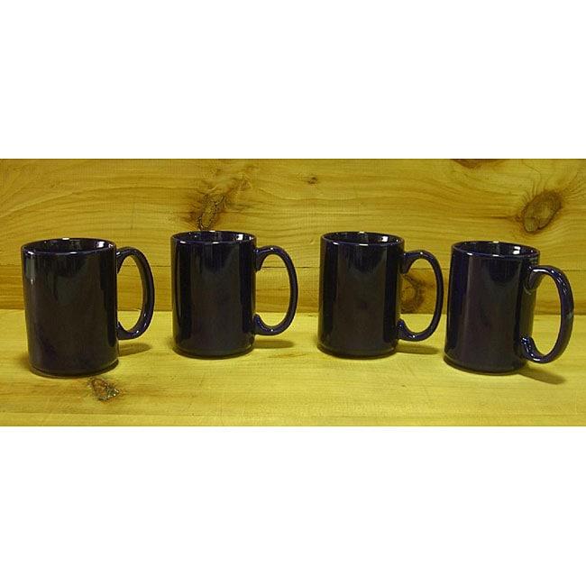 Ceramic Dark Black Gloss Coffee/ Tea Mugs (Pack of 4)