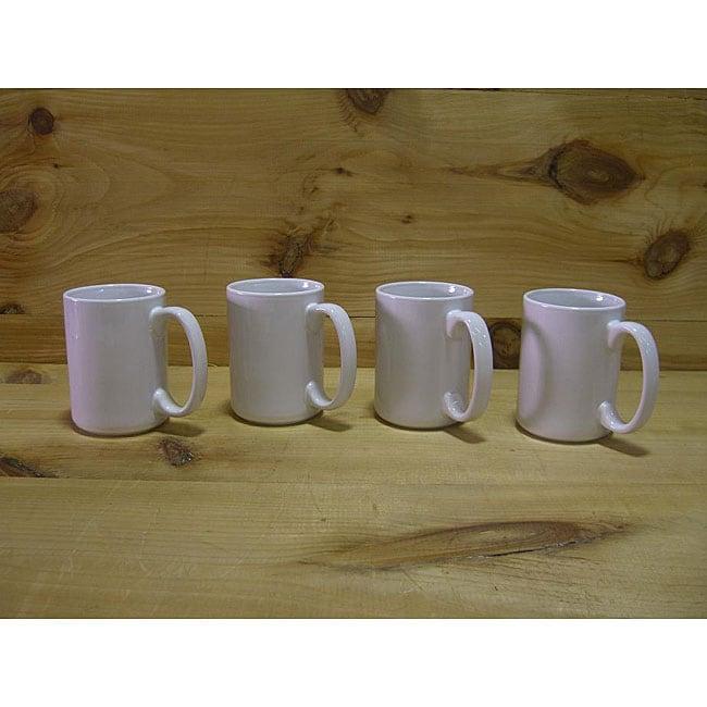 Ceramic White Gloss Coffee/ Tea Mugs (Pack of 4)