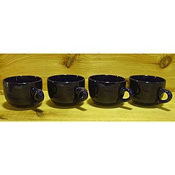 Ceramic Cobalt Navy Blue Gloss Jumbo Cafe Mugs (Pack of 4)