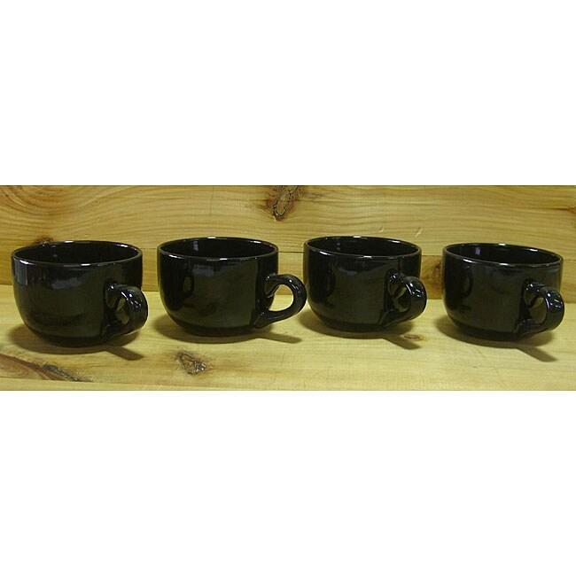Gloss Black 22-oz Jumbo Ceramic Coffee/ Tea Mugs (Set of 4)