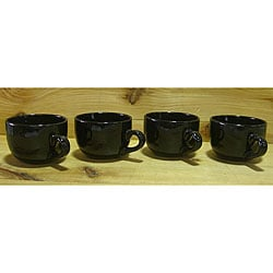 Gloss Black 22-oz Jumbo Ceramic Coffee/ Tea Mugs (Set of 4)