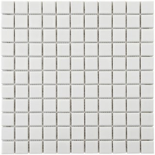 SomerTile 11.75x11.75-in Victorian Square 1-in White Porcelain Mosaic Tile (Pack of 10)