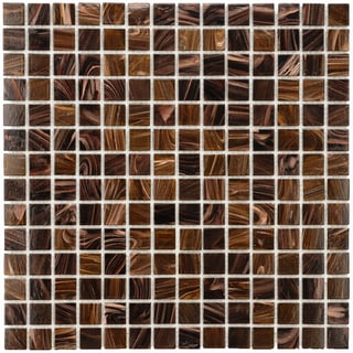 SomerTile 12x12-in Cuivre 1-in Brown Gold Translucent Glass Mosaic Tile (Case of 13)