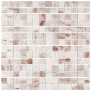 SomerTile 12x12-in Cuivre 1-in Bronze White Translucent Glass Mosaic Tile (Case of 13)