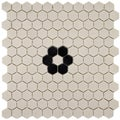 SomerTile 11.75x12-in New York 1-in Hex Antique White/Black Flower Unglazed Porcelain Mosaic Tile (Pack of 10)