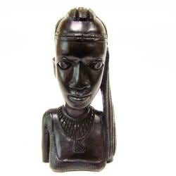Ebony Wood Hand-carved Woman Bust (Tanzania)