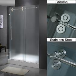 "VIGO 36 x 48 Frameless 3/8"" Frosted Right Shower Enclosure with Base"