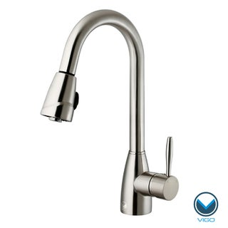 VIGO 20 Degree Arch Stainless Steel Pull-Out Spray Kitchen Faucet