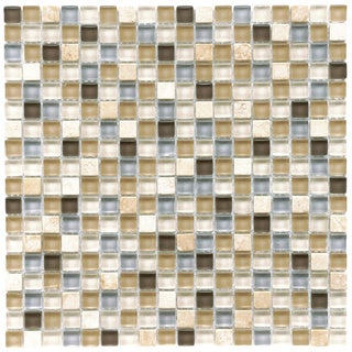 SomerTile 11.75x11.75-in Reflections Mini 5/8-in River Glass/Stone Mosaic Tile (Pack of 10)
