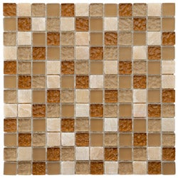 SomerTile 12x12-in Reflections Square 1-in Amber Glass/Stone Mosaic Tile (Pack of 10)
