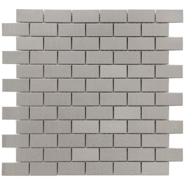SomerTile 11-7/8x11-7/8-in Chromium Subway Stainless 1x2-in Steel/Porcelain Mosaic Tile (Pack of 10)