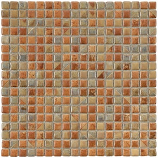 SomerTile 12x12-in Samoan 9/16-in Tundra Beige Porcelain Mosaic Tile (Pack of 10)