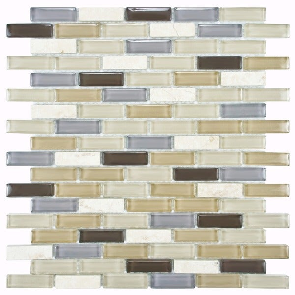 SomerTile 12x12-in Reflections Subway 5/8x2-in River Glass/Stone Mosaic Tile