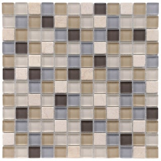 SomerTile 12x12-in Reflections Square 1-in River Glass/Stone Mosaic Tile (Pack of 10)