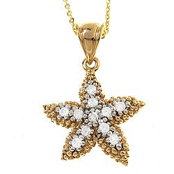 Beverly Hills Charm 18k Gold over Silver 1/5ct TDW Diamond Starfish Necklace