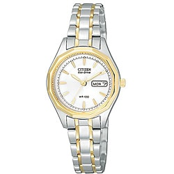 Citizen Women's Eco-Drive White Dial Two-tone Watch