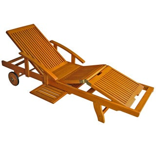 International Caravan Royal Tahiti Yellow Balau Wood Large Chaise Lounge