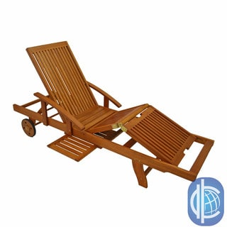 International Caravan Royal Tahiti Yellow Balau Wood Large Chaise Lounge