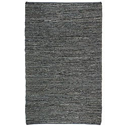 Hand-woven Black Leather Chindi Rug (2'5 x 4'2)