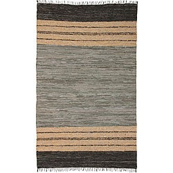 Hand-woven Grey Leather Chindi Rug (2'5 x 4'2)