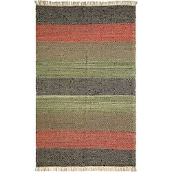 Hand-woven Striped Leather Chindi Rug (2'5 x 4'2)