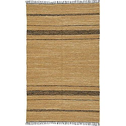 Hand-woven Black and Tan Leather Chindi Rug (2'5 x 4'2)