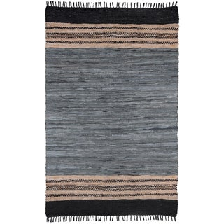 Hand-woven Grey Leather Chindi Rug (8' x 10')