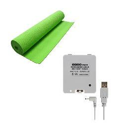 Yoga Mat and Battery Pack Combo for Nintendo Wii Fit- Green