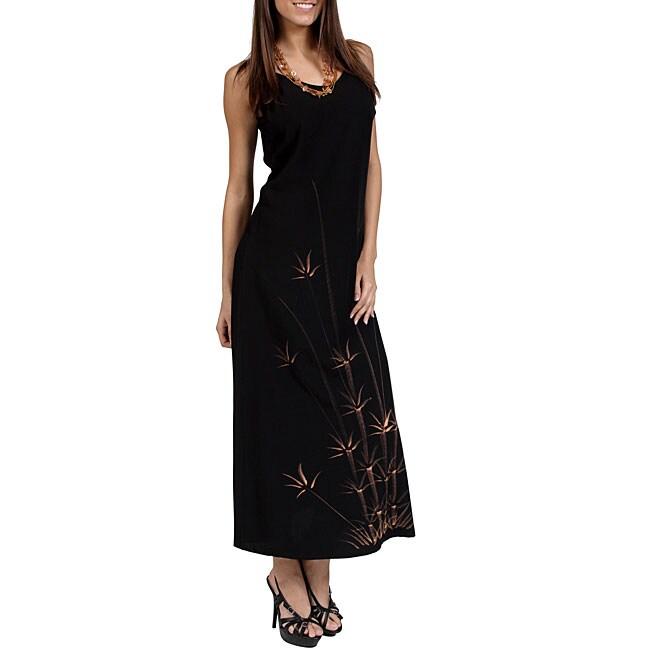 Hawaiian-style Batik-print Long Black Dress (Indonesia)