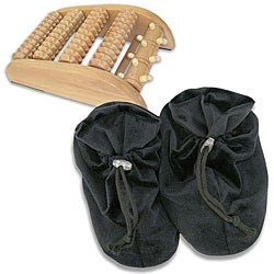 Soothera Black Therapeutic Hot/ Cold Slippers/ Wooden Foot Massager