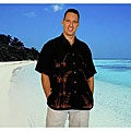 Men's Black Rayon Hawaiian Aloha Shirt (Indonesia)