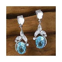 Sterling Silver Topaz 'Dazzling Dew' Dangle Earrings (India)
