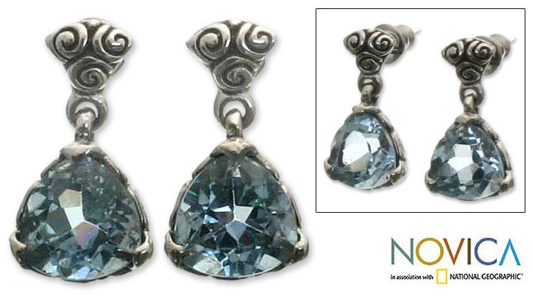 Silver Blue Topaz 'Mystic Trinity' Dangle Earrings (Indonesia)