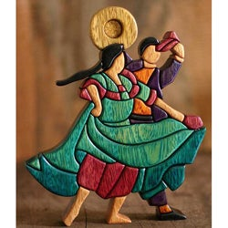 Cedar/ Mahogany 'Dance and Flirt' Sculpture (Peru)