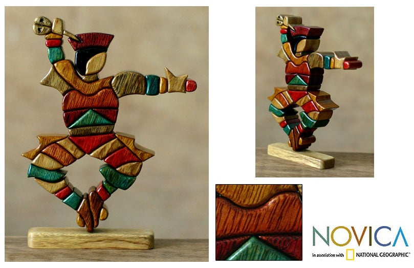 Cedar/ Mahogany 'Scissors Dancer' Sculpture (Peru)