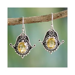 Sterling Silver 'Spellbound' Citrine Dangle Earrings (India)