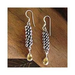 Citrine 'Whirligig' Drop Earrings (India)