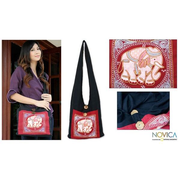 Cotton 'Red Elephant Luck' Handbag (Thailand)