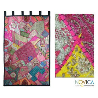 Cotton 'Festival in Fuchsia' Wall Hanging (India)
