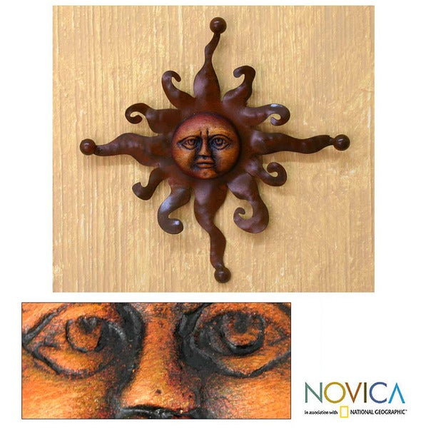 Eternal Sun Indoor Outdoor Patio Decorator Accent Rustic Brown Ceramic Sun with Iron Rays Metal Wall Art Sculpture (Mexico)
