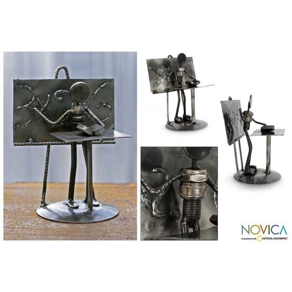 'Rustic Professor' Iron Statuette (Mexico)