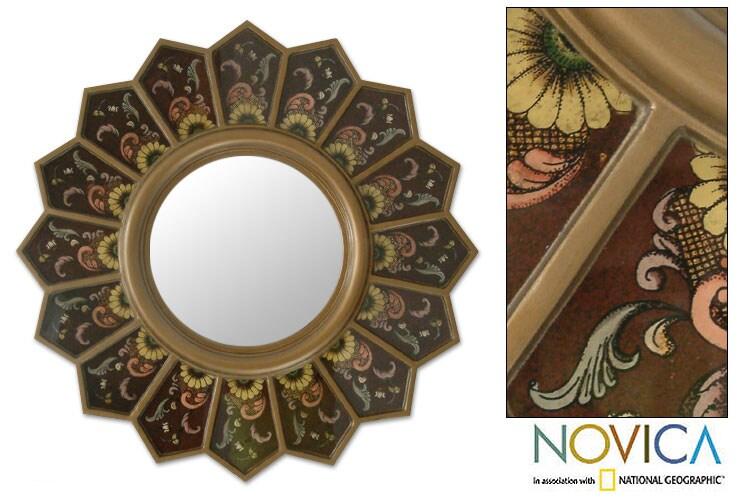 Hand-painted 'Brown Sunflower Fan' Mirror (Peru)